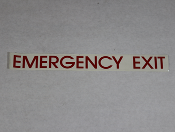 1134 DECAL, EMERGENCY EXIT RED ON CLEAR