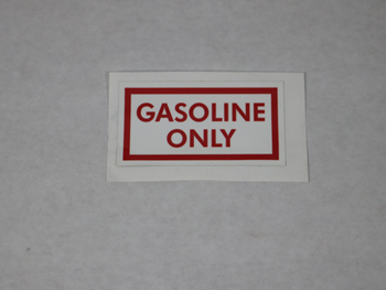 1160 GASOLINE ONLY DECAL, RED ON WHITE