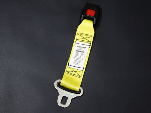6911 YELLOW SHIELD SEATBELT EXT. NON-RETRACTABLE BELTS 60 OR 90
