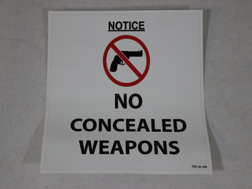 TES.02.038 NO CONCEALED WEAPONS